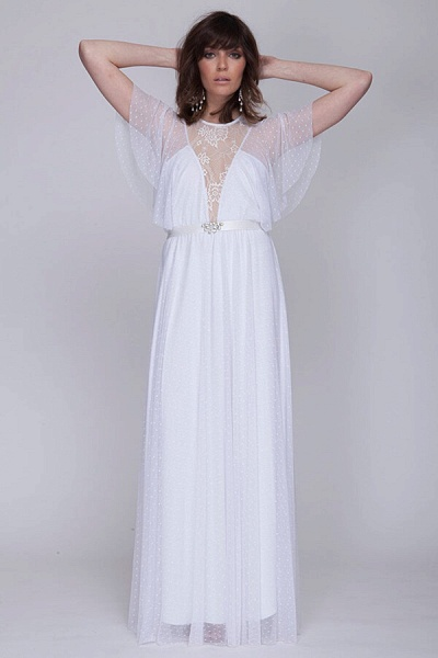 Polka Dot Short Sleeve Lace Tulle Wedding Dress_5