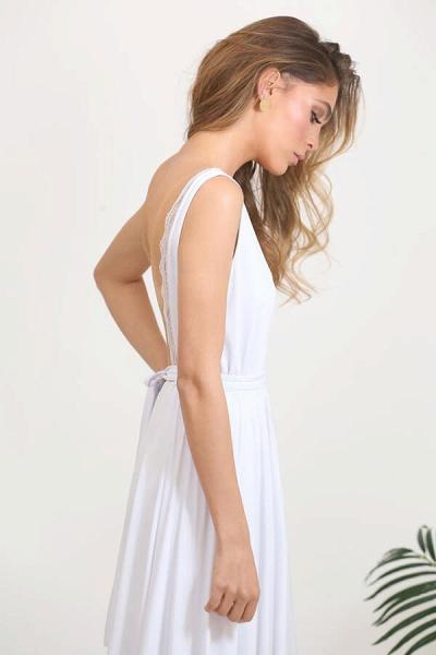 Open Back V-neck Lace Chiffon A-line Wedding Dress_9