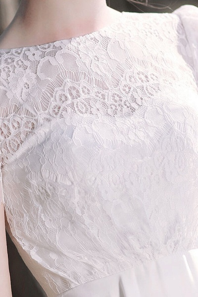 Short Sleeve Lace A-line Short Wedding Dress_11