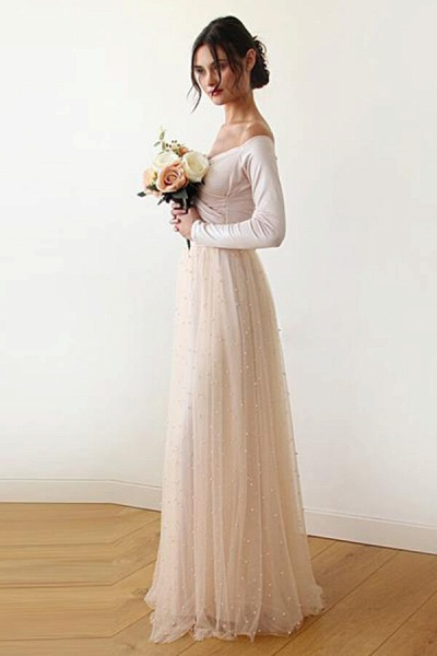 Long Sleeve Off The Shoulder Tulle Wedding Dress_4