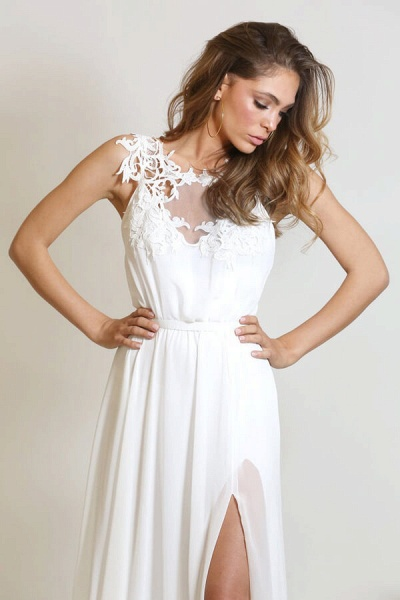 Front Slit Appliques Chiffon A-line Wedding Dress_8