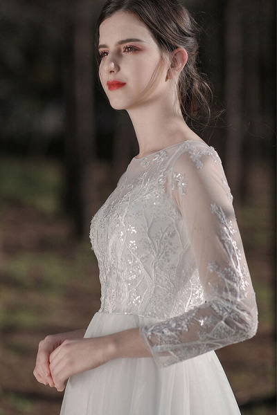 Long Sleeve Sequins Tulle A-line Wedding Dress_9