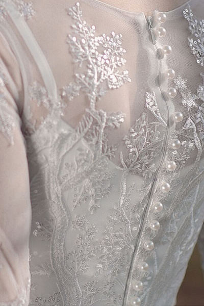 Long Sleeve Sequins Tulle A-line Wedding Dress_11