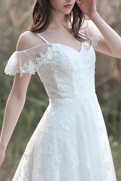 Cold-shoulder Lace Tulle A-line Wedding Dress_2