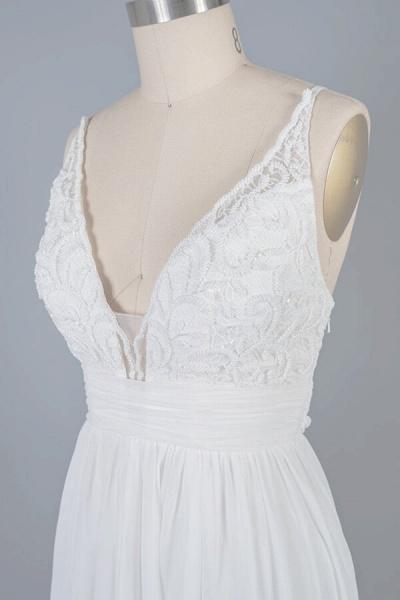 Front Slit Lace Chiffon Sheath Wedding Dress_6