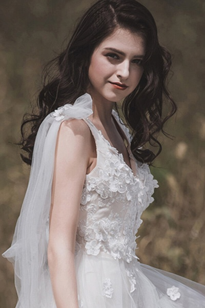 Awesome V-neck Appliques Tulle A-line Wedding Dress_8