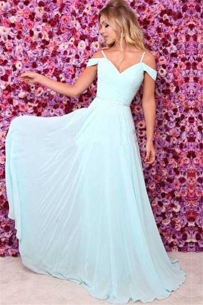 Spaghettistraps Chiffon Ruffles A-line Prom Dresses_1