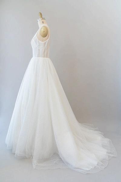 Open Back Sequins Tulle A-line Wedding Dress_5