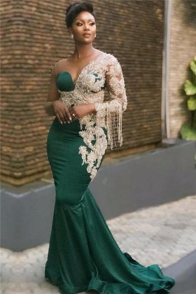 Mermaid Appliques Oneshoulder Floorlength Prom Dresses_1