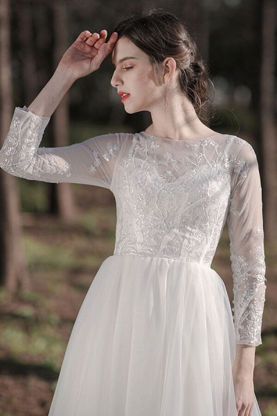 Long Sleeve Sequins Tulle A-line Wedding Dress_8