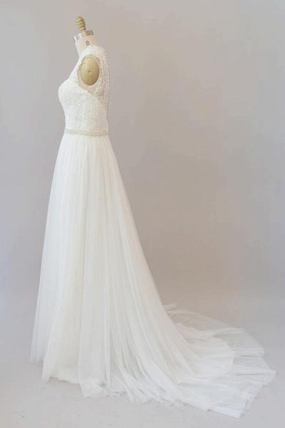 Amazing Beading Lace Tulle A-line Wedding Dress_4