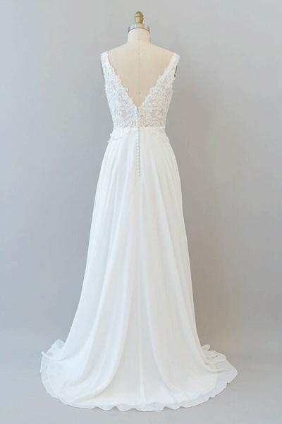 V-neck Appliques Chiffon A-line Wedding Dress_3
