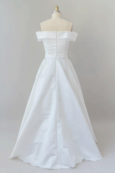 Graceful Off Shoulder Satin Ball Gown Wedding Dress_3