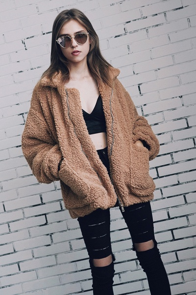 Winter Fashion Going out Basic Regular Faux Fur Coat_22