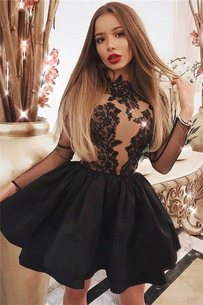 A-line Lace Mini Tulle Homcoming Dresses_1