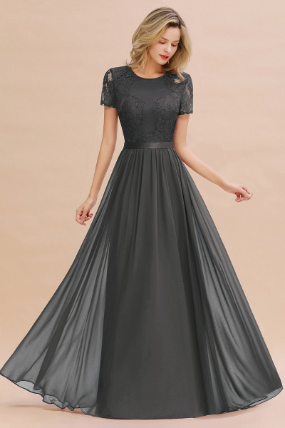 BM0831 Chiffon Lace Scoop Short Sleeve Bridesmaid Dress_46