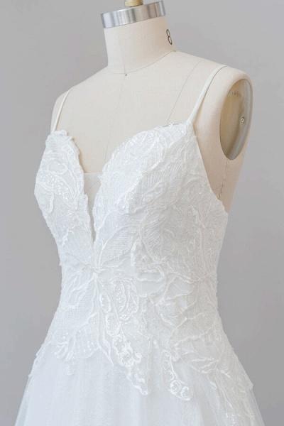 Spaghetti Strap Applique Tulle A-line Wedding Dress_7
