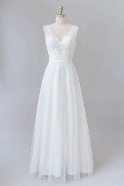 Ruffle V-neck Lace Tulle A-line Wedding Dress_1