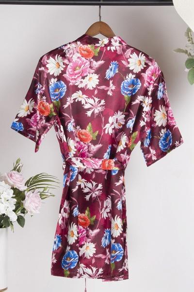 Short Sleeve Floral Print Bridesmaid Bridal Robes_16