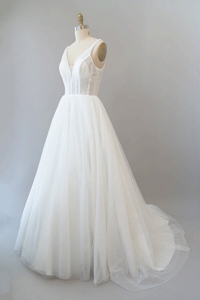 Open Back Sequins Tulle A-line Wedding Dress_4