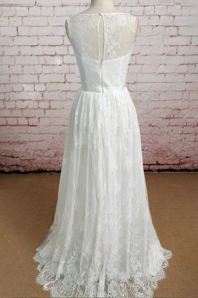 Graceful Floor Length Lace A-line Wedding Dress_3