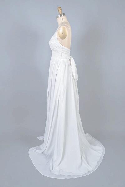 Front Slit Lace Chiffon Sheath Wedding Dress_4
