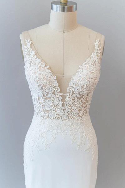Elegant Lace Floor Length Mermaid Wedding Dress_6