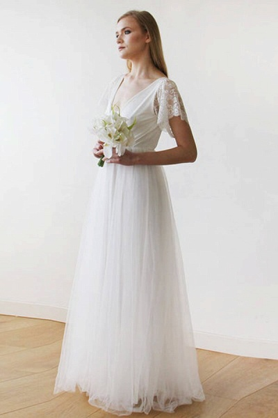 V-neck Short Sleeve Lace Tulle A-line Wedding Dress_6