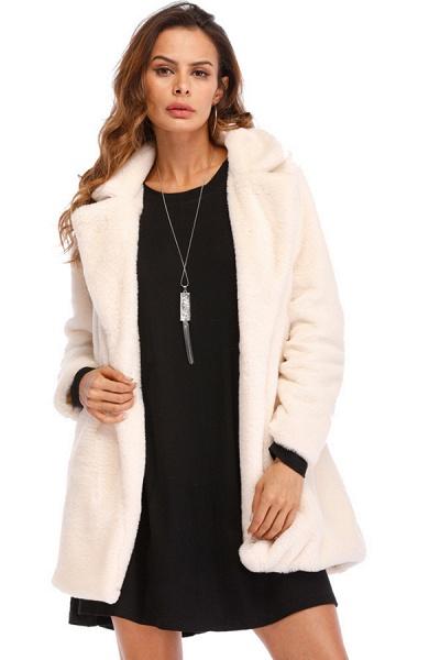 Winter Daily Regular Stand Long Faux Fur Coats_2