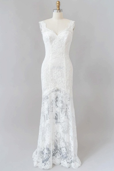 Eye-catching Sweetheart Lace Mermaid Wedding Dress_1