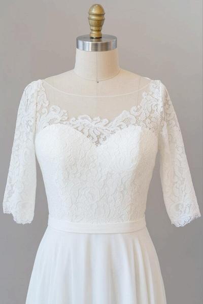 Graceful Lace Chiffon Floor Length Wedding Dress_7