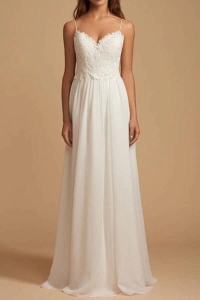 Elegant Open Back Appliques Chiffon Wedding Dress_2