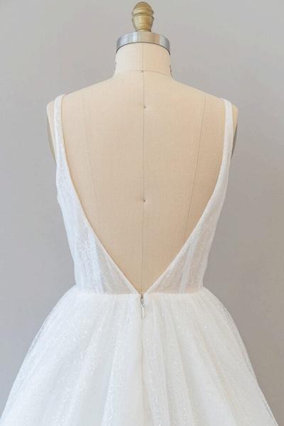 Open Back Sequins Tulle A-line Wedding Dress_7