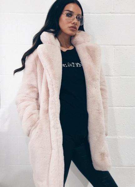 Winter Daily Regular Stand Long Faux Fur Coats_51