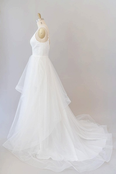Beautiful V-neck Tulle A-line Wedding Dress_5