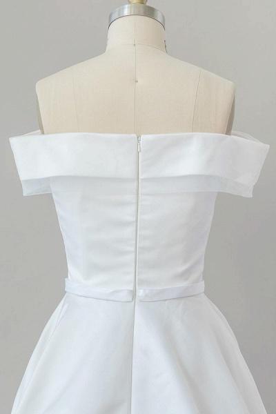 Graceful Off Shoulder Satin Ball Gown Wedding Dress_7