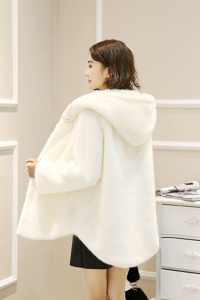 Hooded Daily Basic Club Faux Fur Coat_14