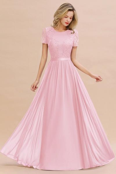 BM0831 Chiffon Lace Scoop Short Sleeve Bridesmaid Dress_4