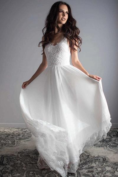 Amazing Spaghetti Strap Lace Chiffon Wedding Dress_2