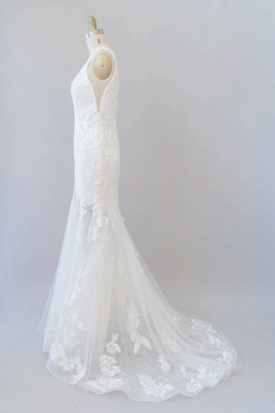 Deep V-neck Appliques Tulle Mermaid Wedding Dress_4