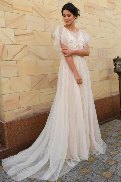 Polka Dot Appliques Tulle A-line Wedding Dress_1