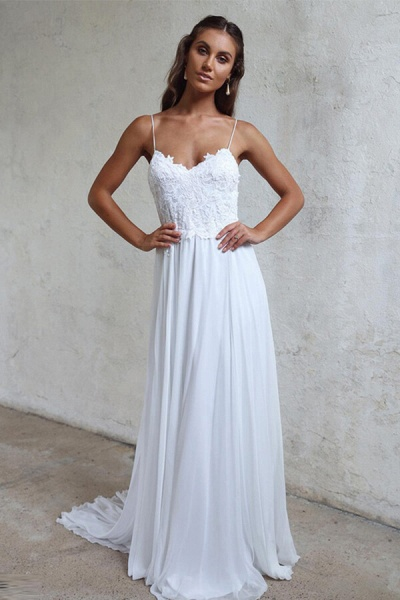 Appliques Spaghetti Strap Chiffon Wedding Dress_1