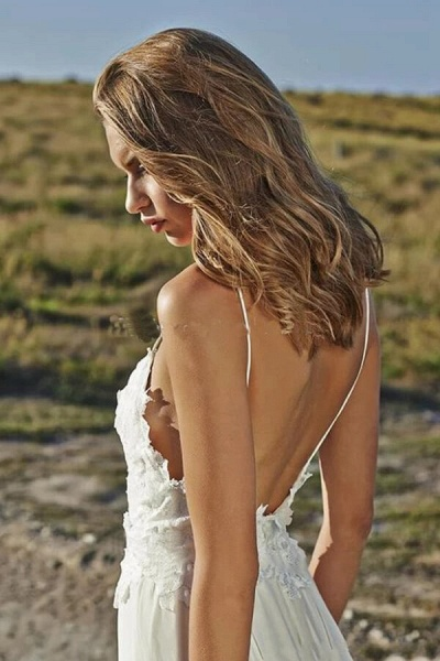 Spaghetti Strap Appliques Chiffon Wedding Dress_5