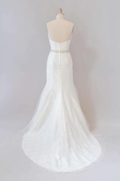 Awesome Ruffle Strapless Lace Sheath Wedding Dress_3