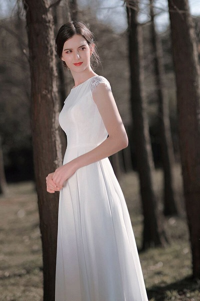 Chic Cap Sleeve Lace Chiffon A-line Wedding Dress_8