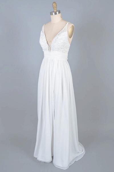 Front Slit Lace Chiffon Sheath Wedding Dress_5