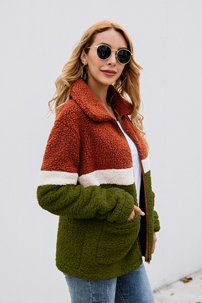 Daily Street Fashion Basic Two Toned Fur Coats_13