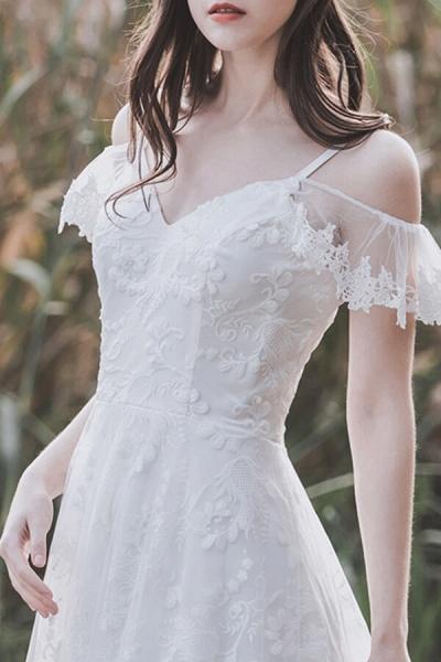 Cold-shoulder Lace Tulle A-line Wedding Dress_11
