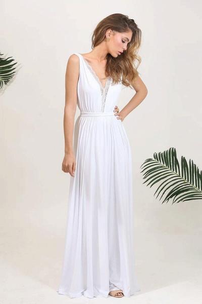 Open Back V-neck Lace Chiffon A-line Wedding Dress_6