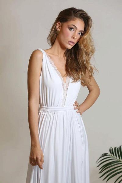 Open Back V-neck Lace Chiffon A-line Wedding Dress_8